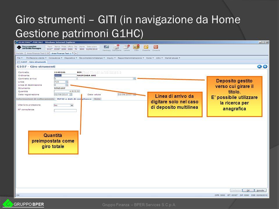 Giro strumenti – GITI (in navigazione da Home Gestione patrimoni G1HC)