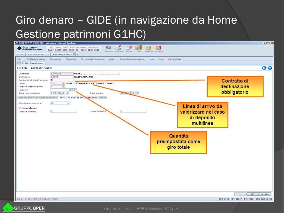 Giro denaro – GIDE (in navigazione da Home Gestione patrimoni G1HC)