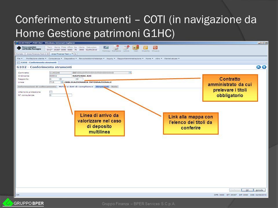 Conferimento strumenti – COTI (in navigazione da Home Gestione patrimoni G1HC)
