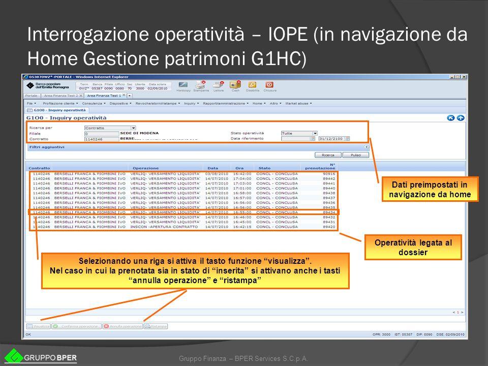 Interrogazione operatività – IOPE (in navigazione da Home Gestione patrimoni G1HC)