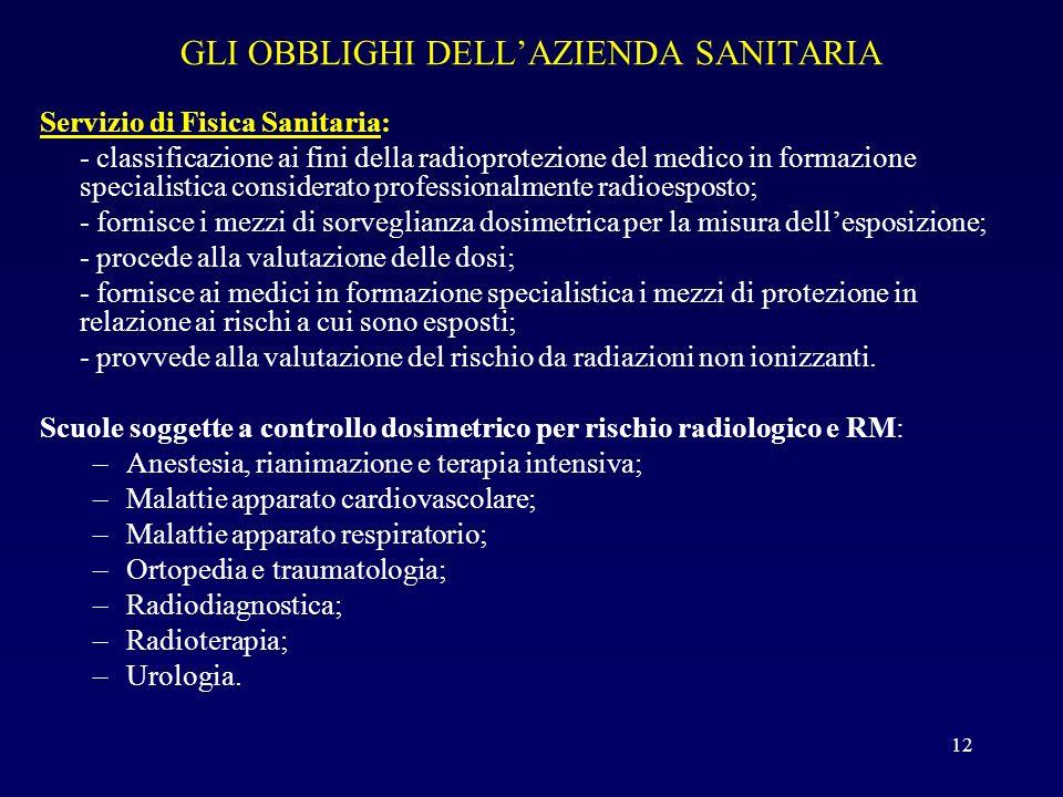 GLI OBBLIGHI DELL'AZIENDA SANITARIA