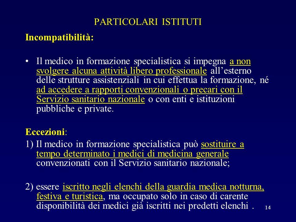 PARTICOLARI ISTITUTI Incompatibilità: