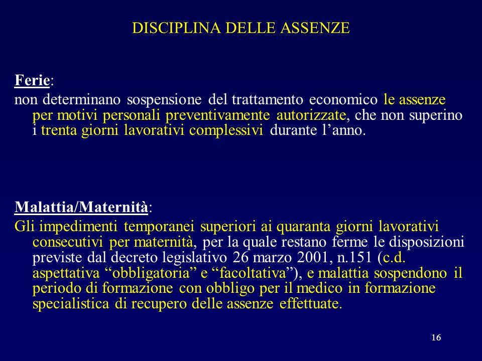 DISCIPLINA DELLE ASSENZE