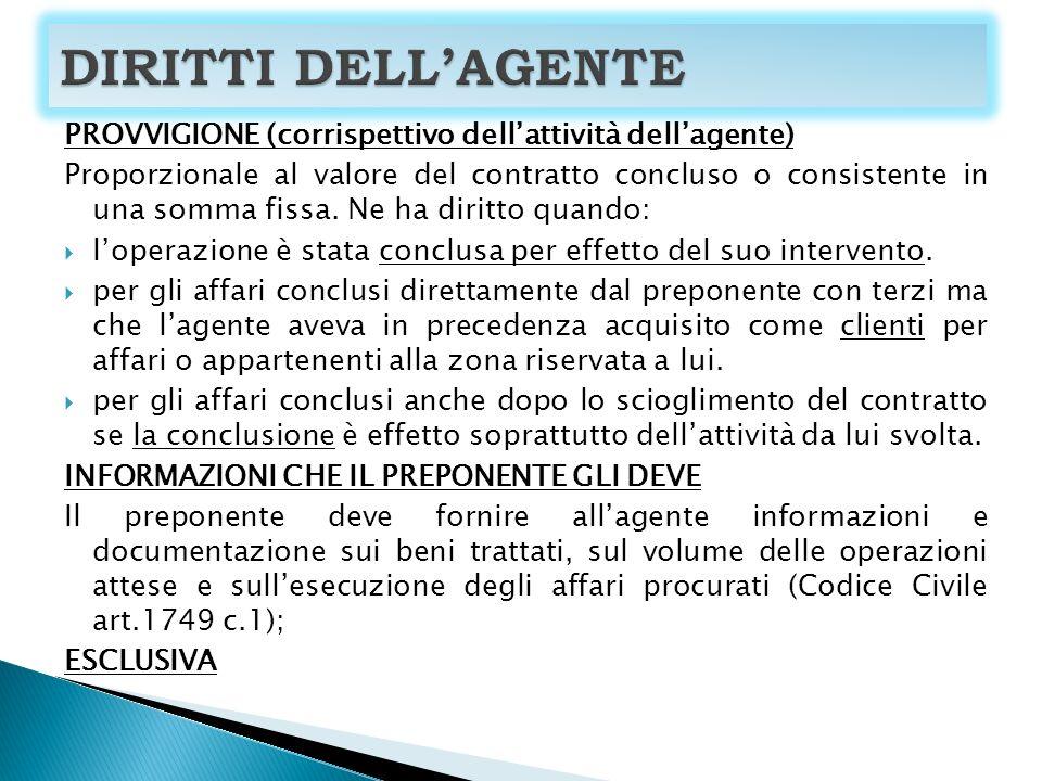 DIRITTI DELL'AGENTE PROVVIGIONE (corrispettivo dell'attività dell'agente)