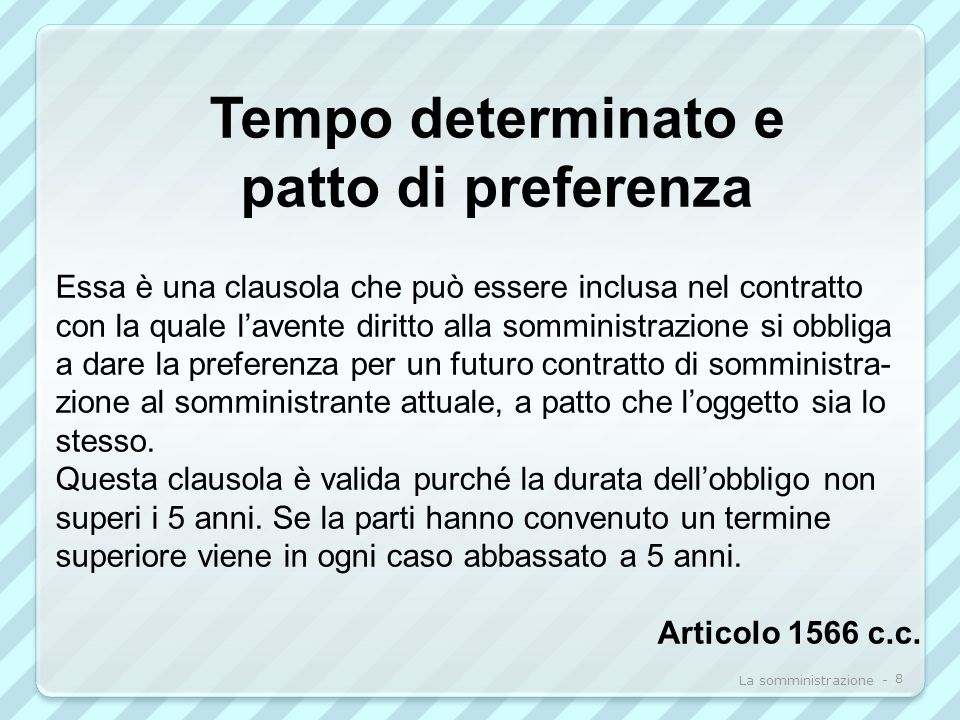 Tempo determinato e patto di preferenza