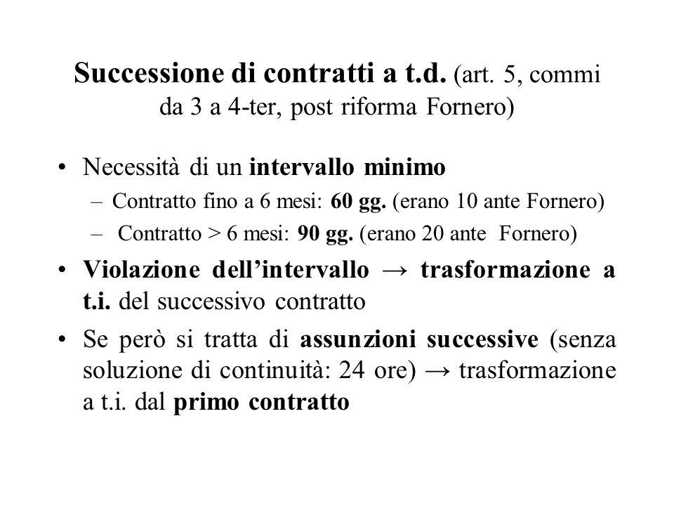 Successione di contratti a t. d. (art