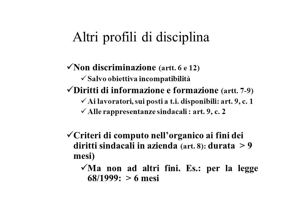 Altri profili di disciplina
