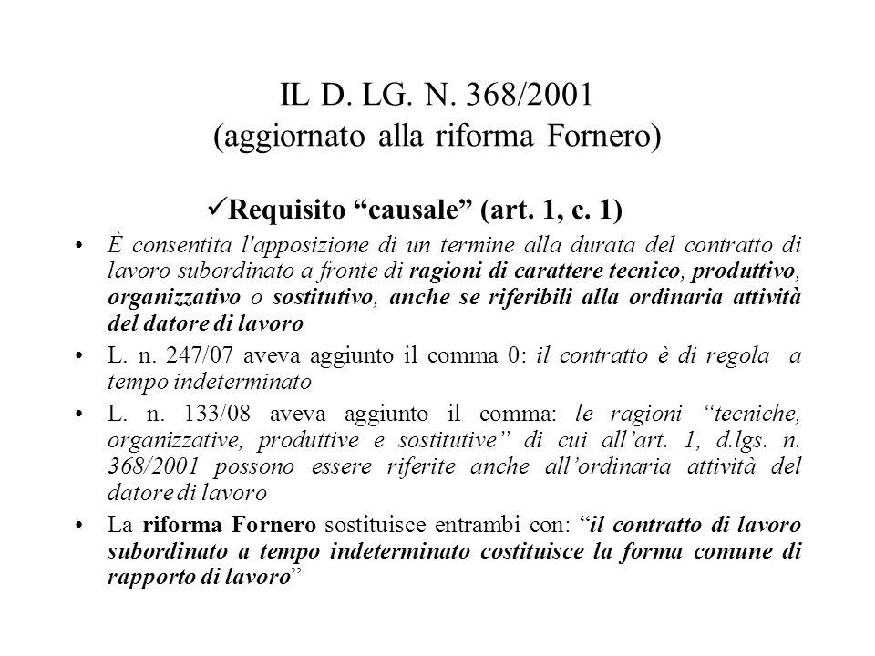 IL D. LG. N. 368/2001 (aggiornato alla riforma Fornero)