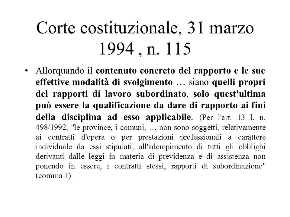 Corte costituzionale, 31 marzo 1994 , n. 115