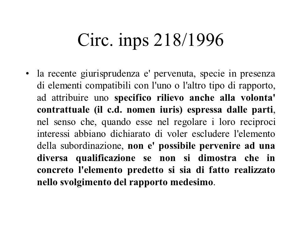 Circ. inps 218/1996