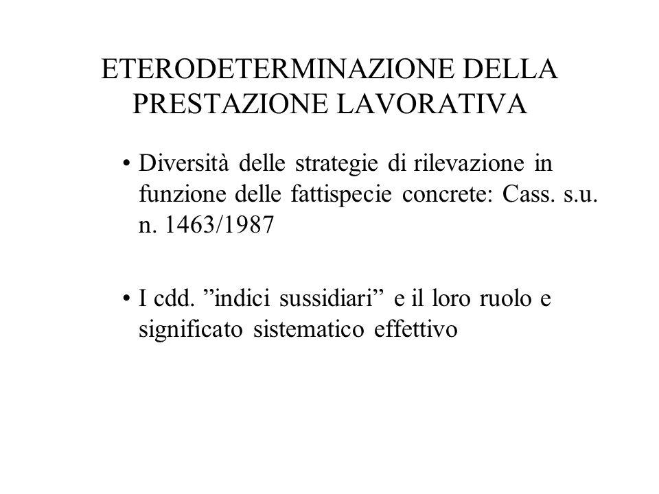 ETERODETERMINAZIONE DELLA PRESTAZIONE LAVORATIVA