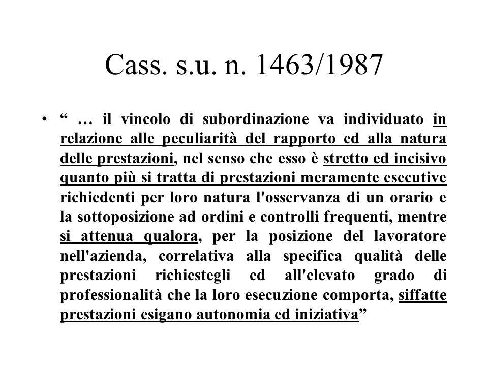 Cass. s.u. n. 1463/1987