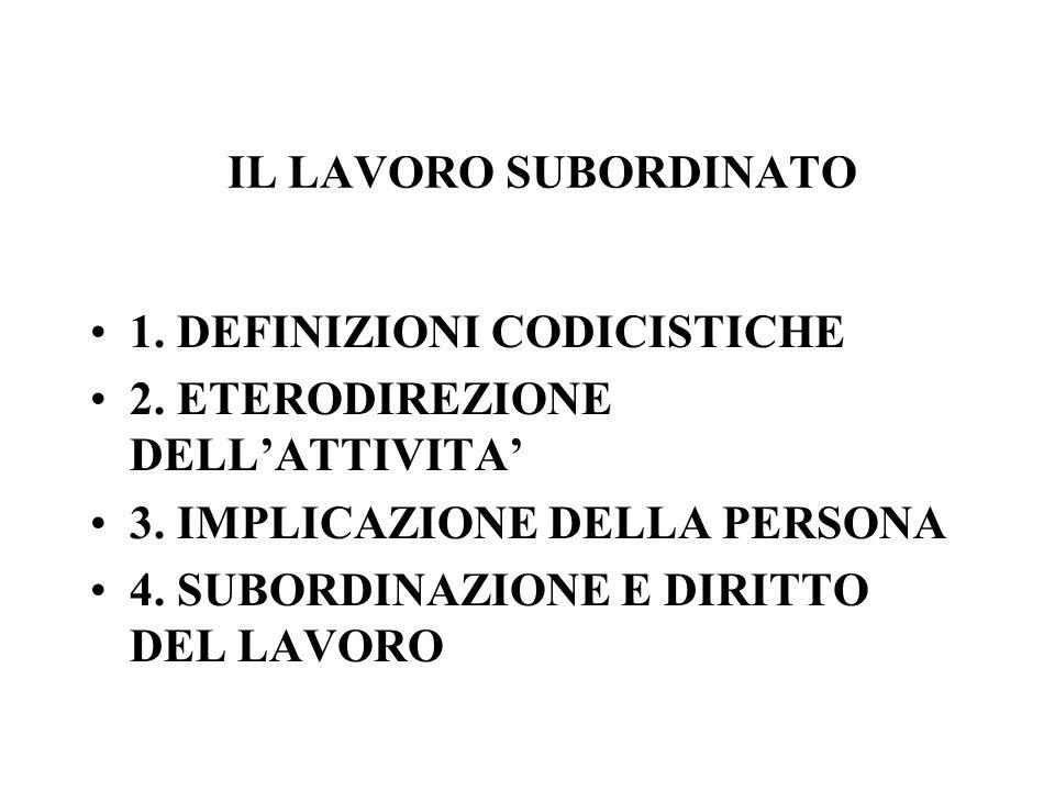 1. DEFINIZIONI CODICISTICHE 2. ETERODIREZIONE DELL'ATTIVITA'