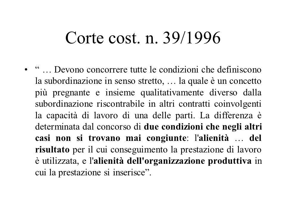 Corte cost. n. 39/1996