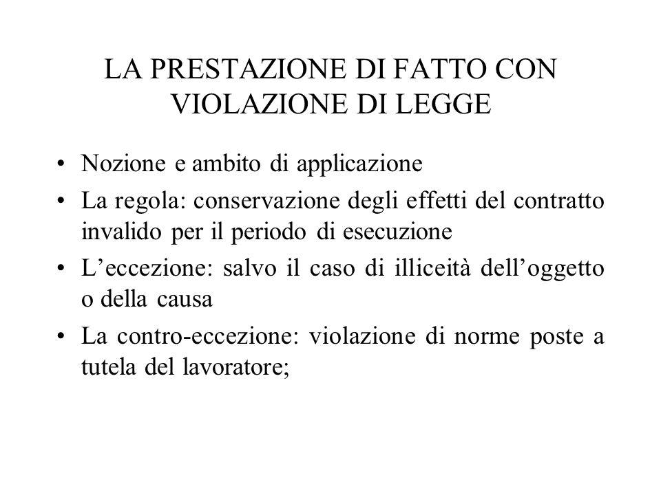 LA PRESTAZIONE DI FATTO CON VIOLAZIONE DI LEGGE