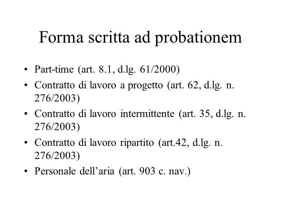Forma scritta ad probationem