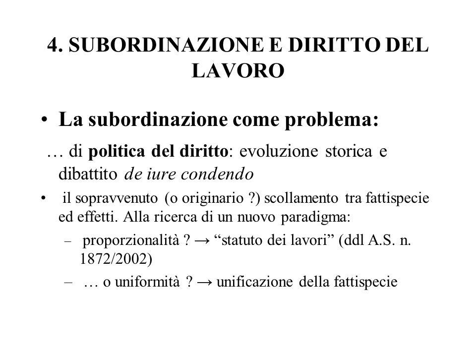 4. SUBORDINAZIONE E DIRITTO DEL LAVORO
