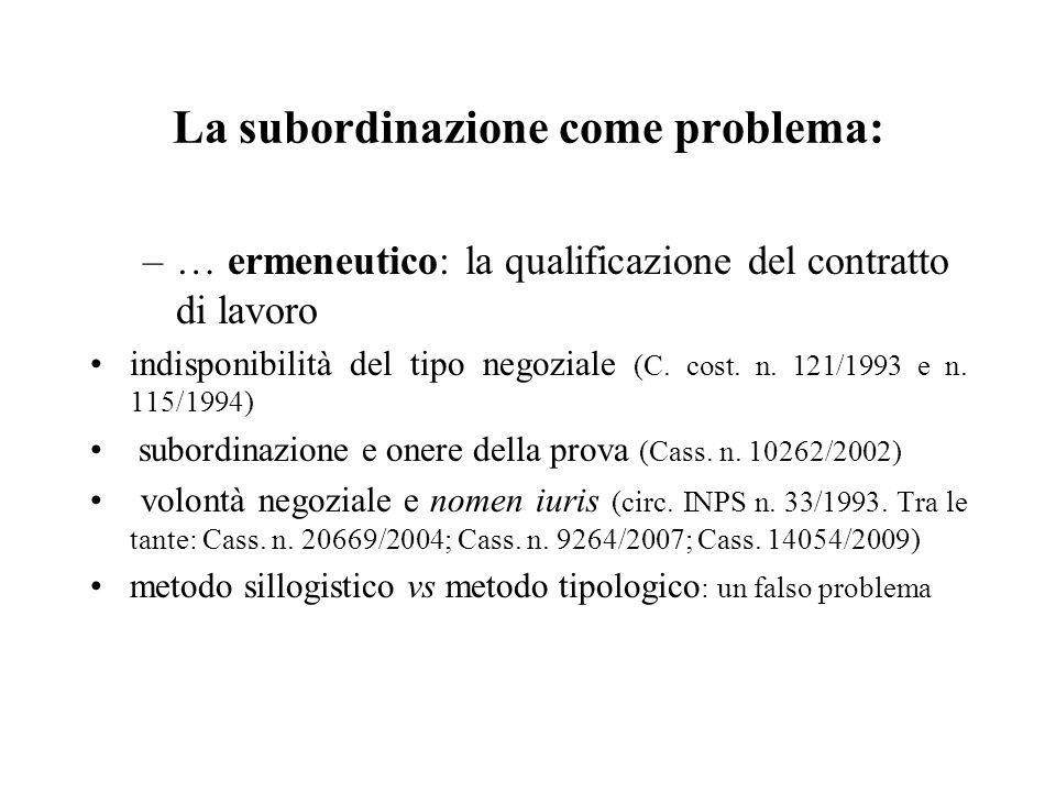 La subordinazione come problema:
