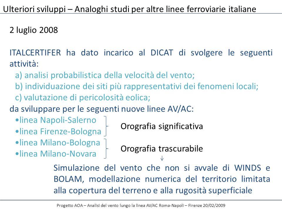 a) analisi probabilistica della velocità del vento;