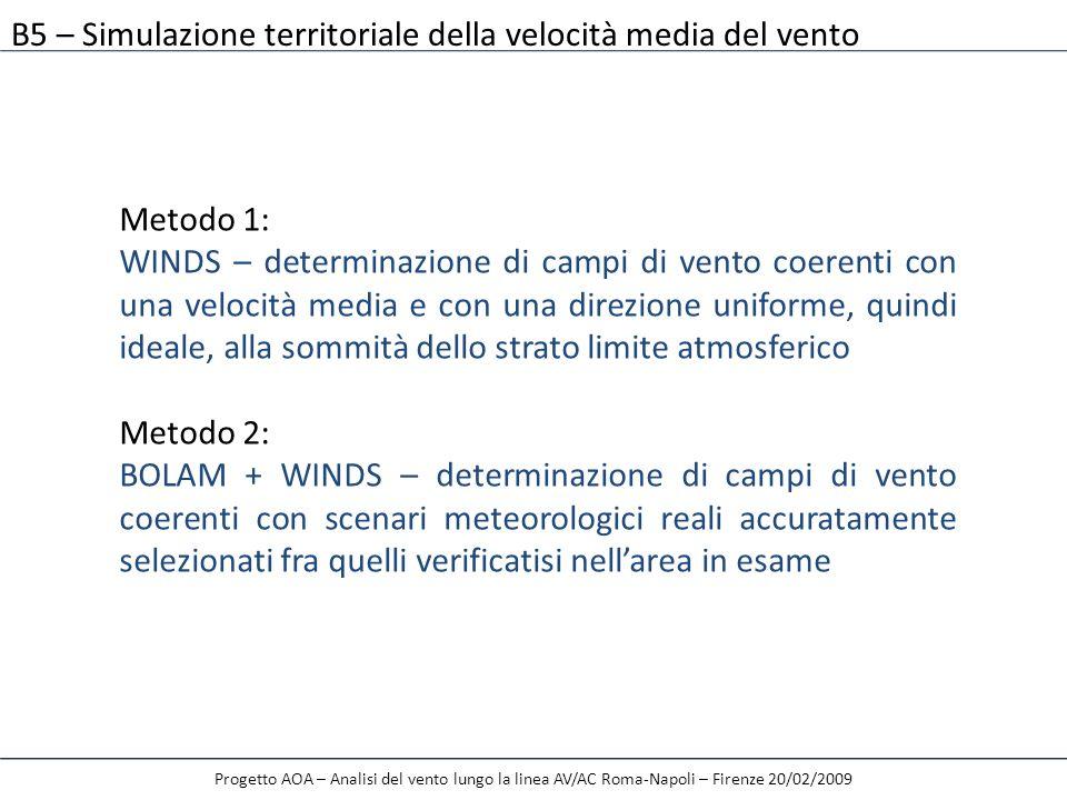 B5 – Simulazione territoriale della velocità media del vento