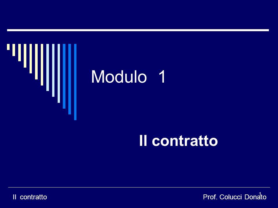 Modulo 1 Il contratto Il contratto Prof. Colucci Donato il contratto