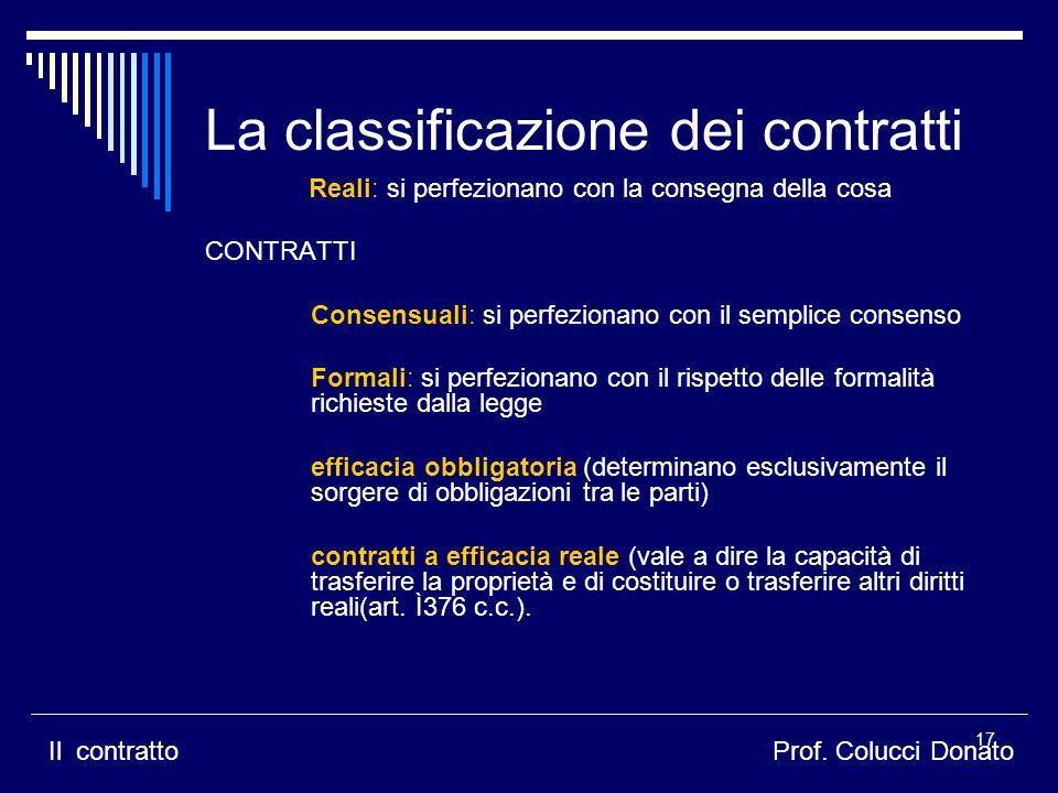 La classificazione dei contratti
