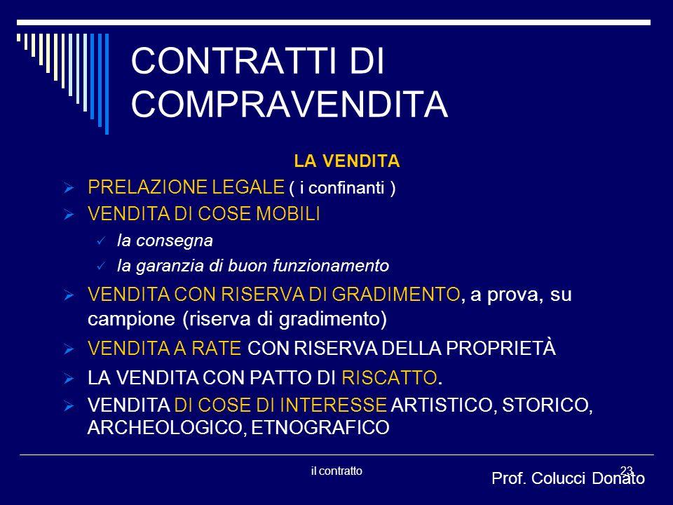 CONTRATTI DI COMPRAVENDITA
