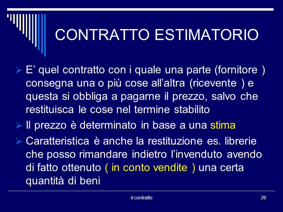 CONTRATTO ESTIMATORIO