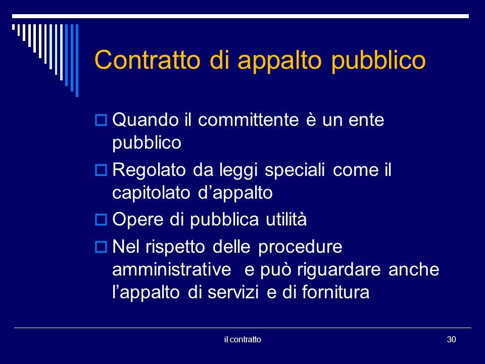 Contratto di appalto pubblico