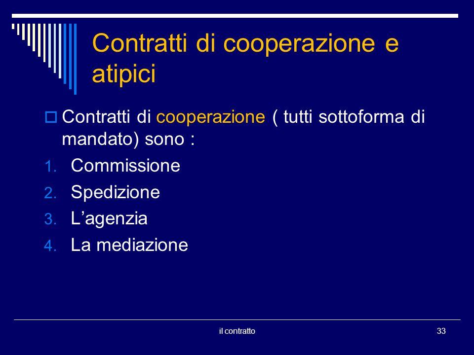 Contratti di cooperazione e atipici