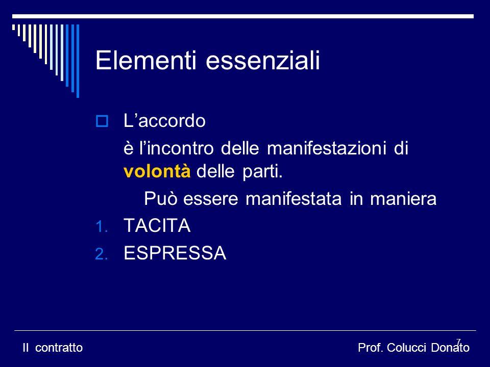 Elementi essenziali L'accordo