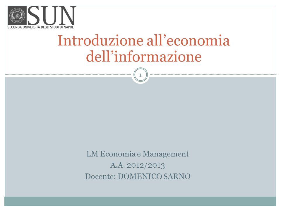 Introduzione all'economia dell'informazione