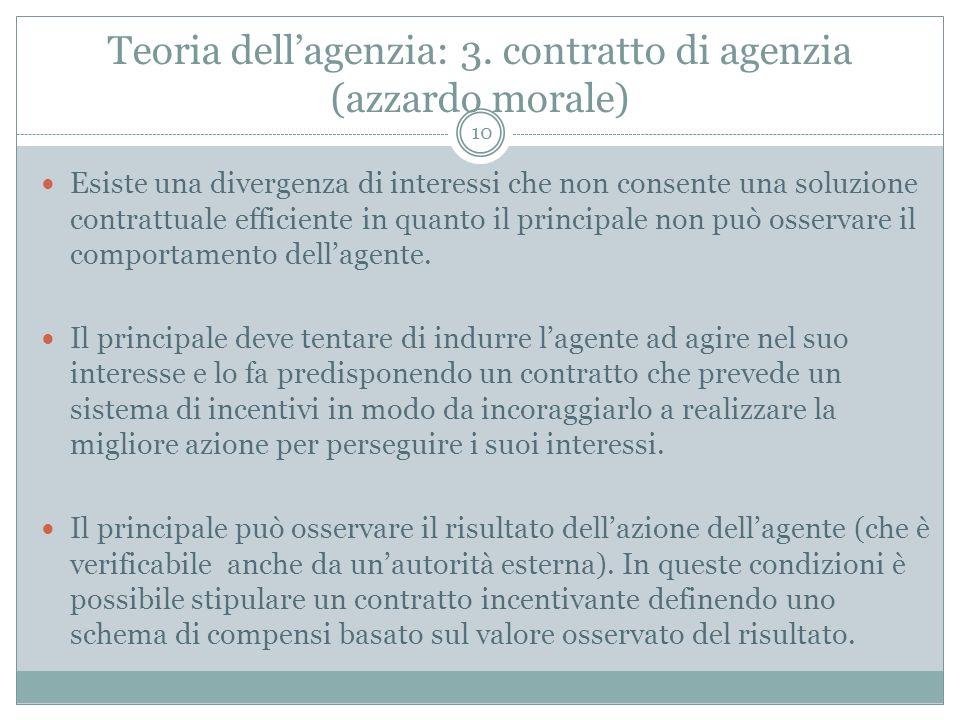 Teoria dell'agenzia: 3. contratto di agenzia (azzardo morale)