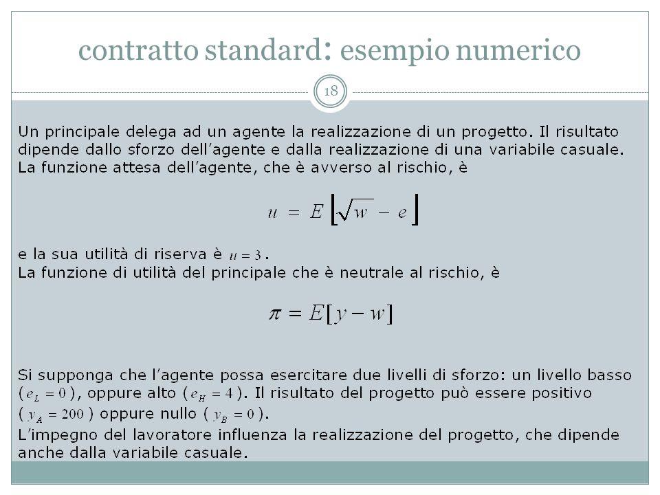 contratto standard: esempio numerico