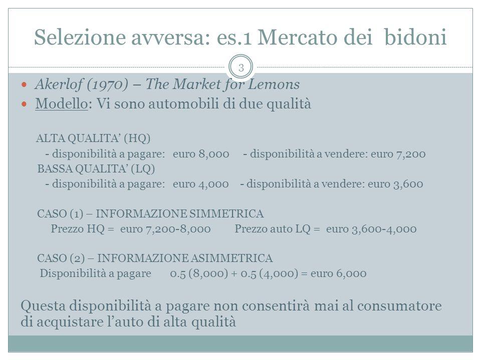 Selezione avversa: es.1 Mercato dei bidoni