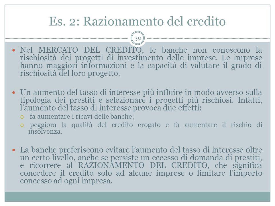 Es. 2: Razionamento del credito