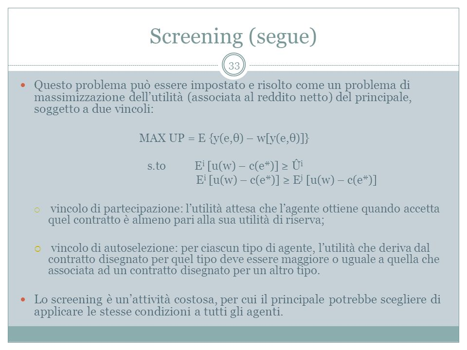 Screening (segue)