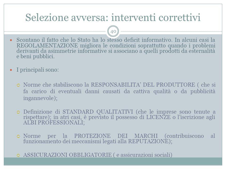 Selezione avversa: interventi correttivi