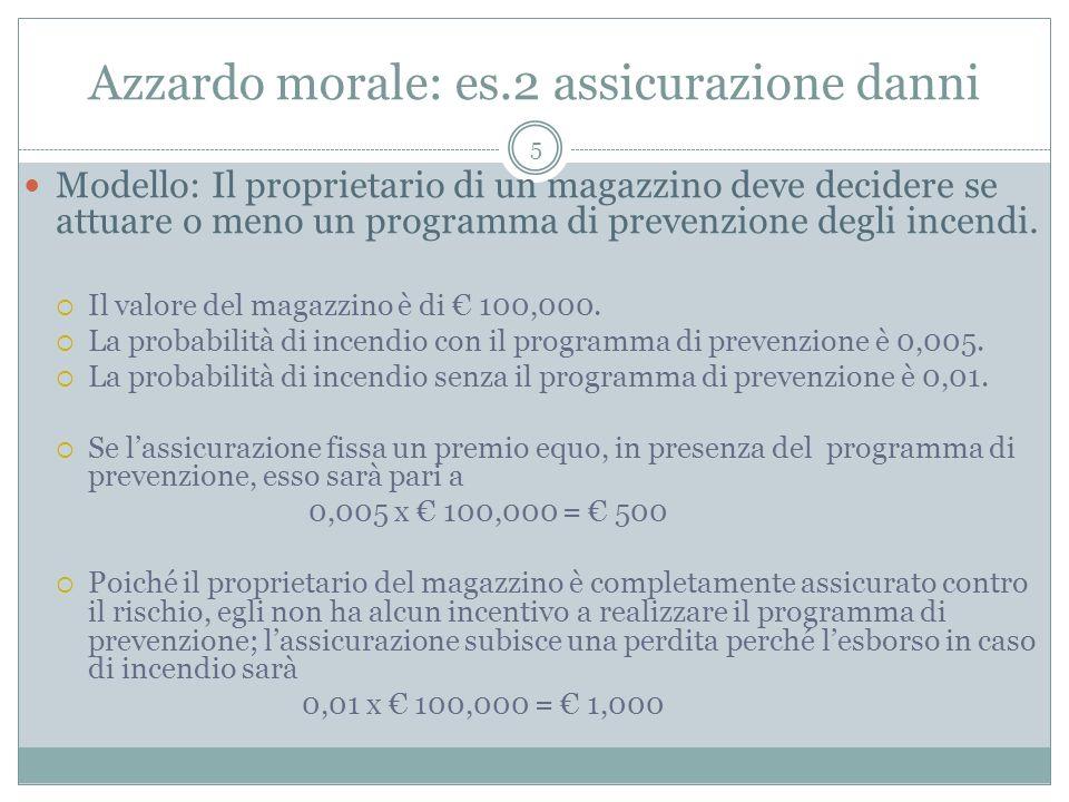 Azzardo morale: es.2 assicurazione danni