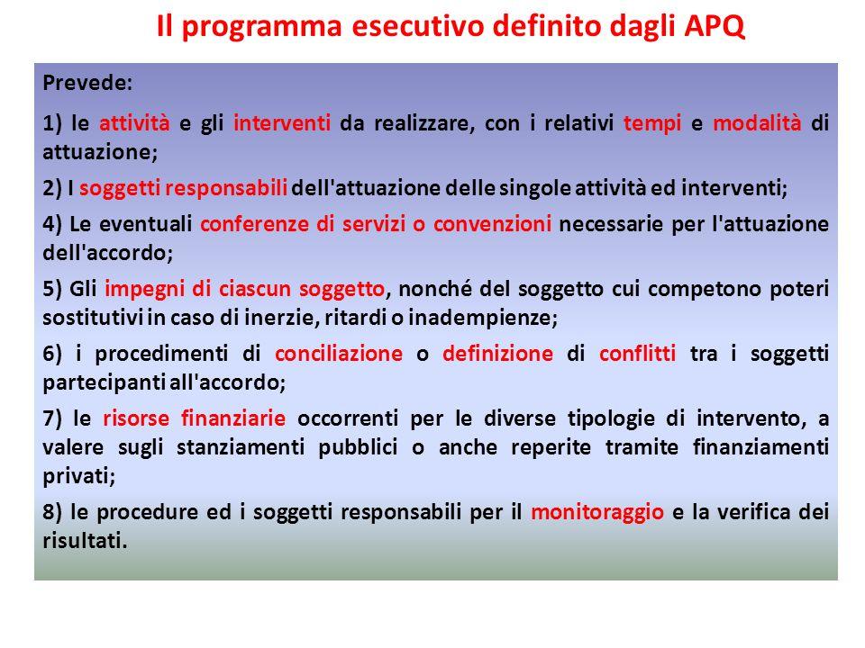 Il programma esecutivo definito dagli APQ