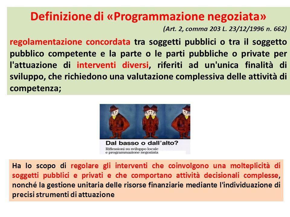 Definizione di «Programmazione negoziata»