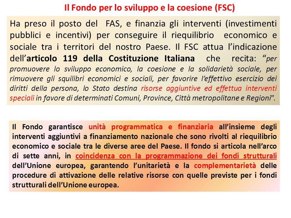 Il Fondo per lo sviluppo e la coesione (FSC)
