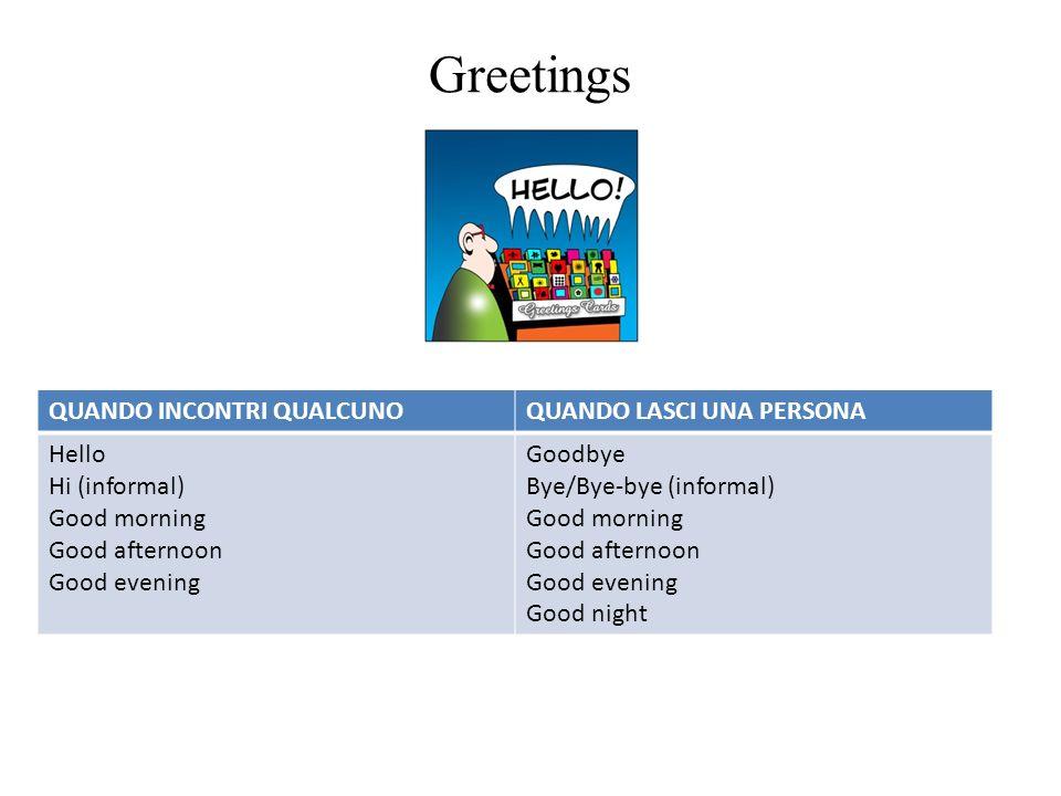Greetings QUANDO INCONTRI QUALCUNO QUANDO LASCI UNA PERSONA Hello