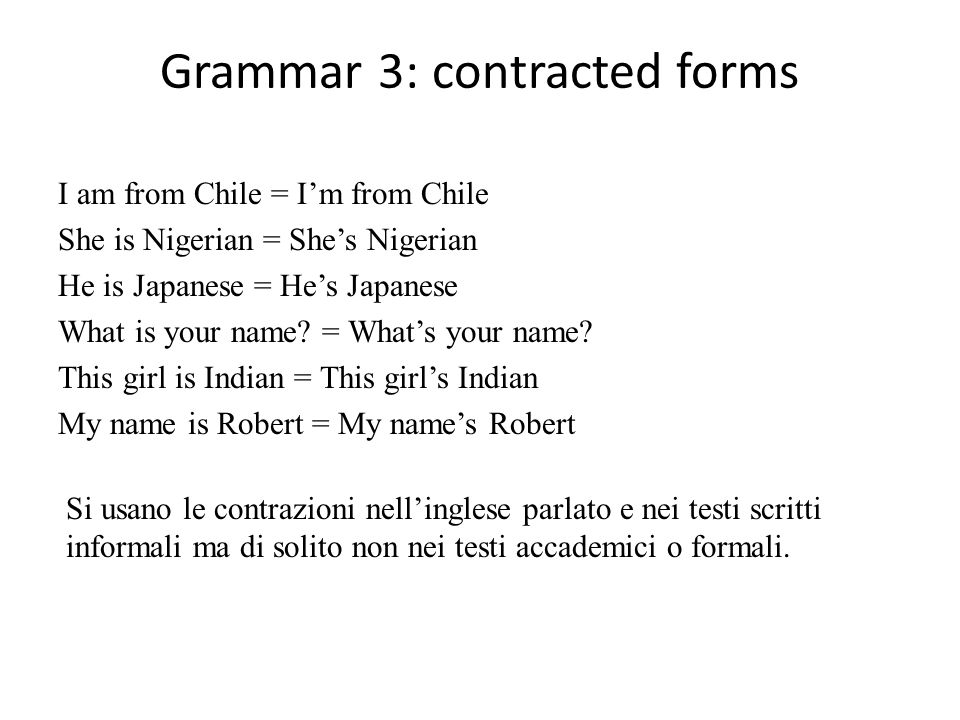 Grammar 3: contracted forms