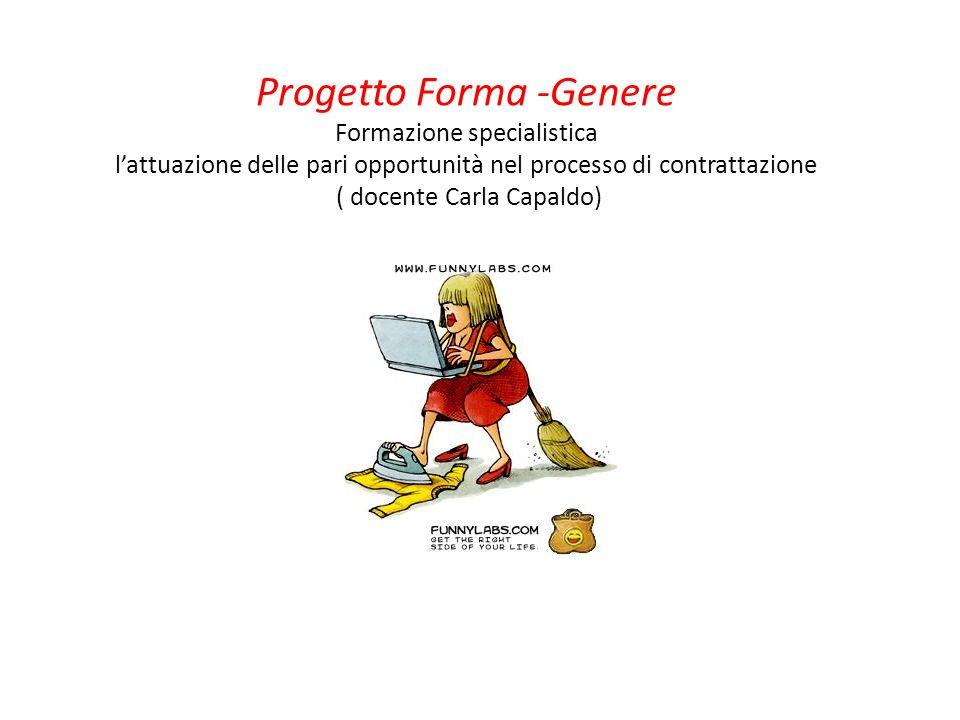 Progetto Forma -Genere Formazione specialistica l'attuazione delle pari opportunità nel processo di contrattazione ( docente Carla Capaldo)