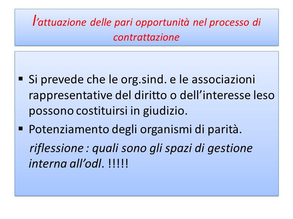 l'attuazione delle pari opportunità nel processo di contrattazione