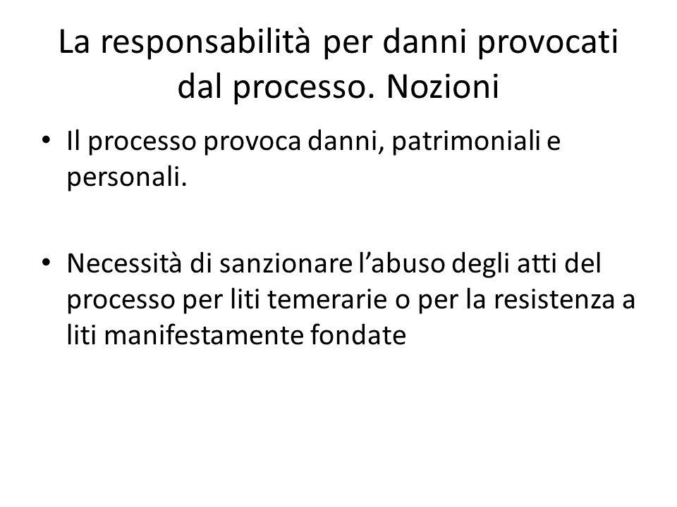 La responsabilità per danni provocati dal processo. Nozioni