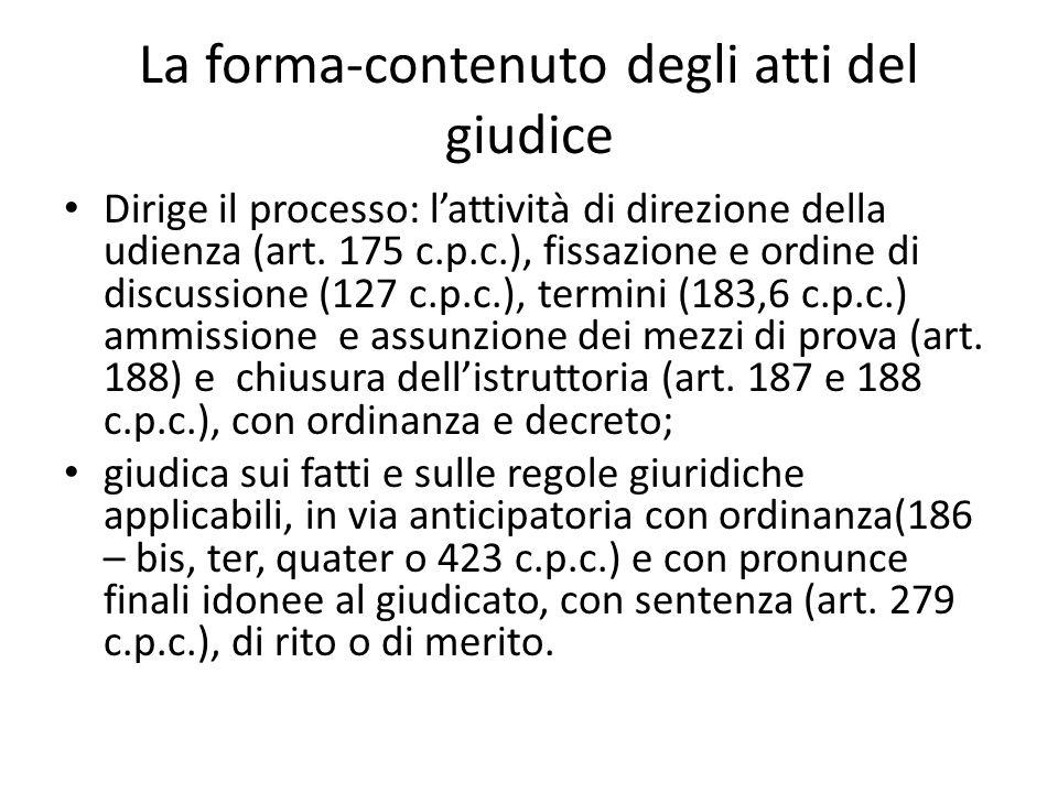 La forma-contenuto degli atti del giudice