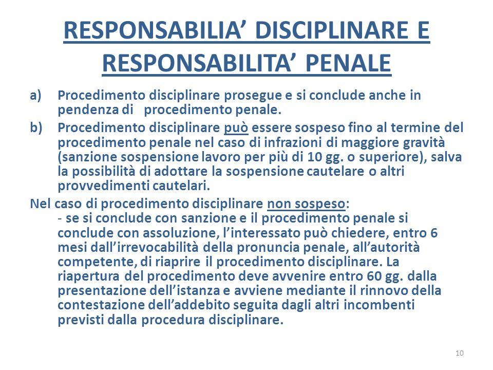 RESPONSABILIA' DISCIPLINARE E RESPONSABILITA' PENALE