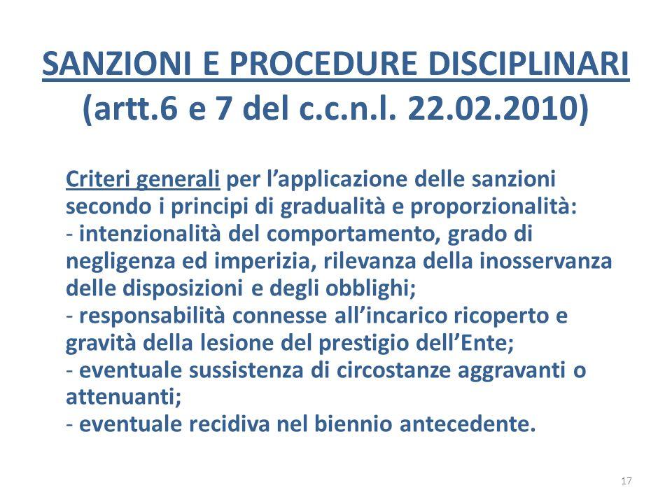 SANZIONI E PROCEDURE DISCIPLINARI (artt.6 e 7 del c.c.n.l. 22.02.2010)